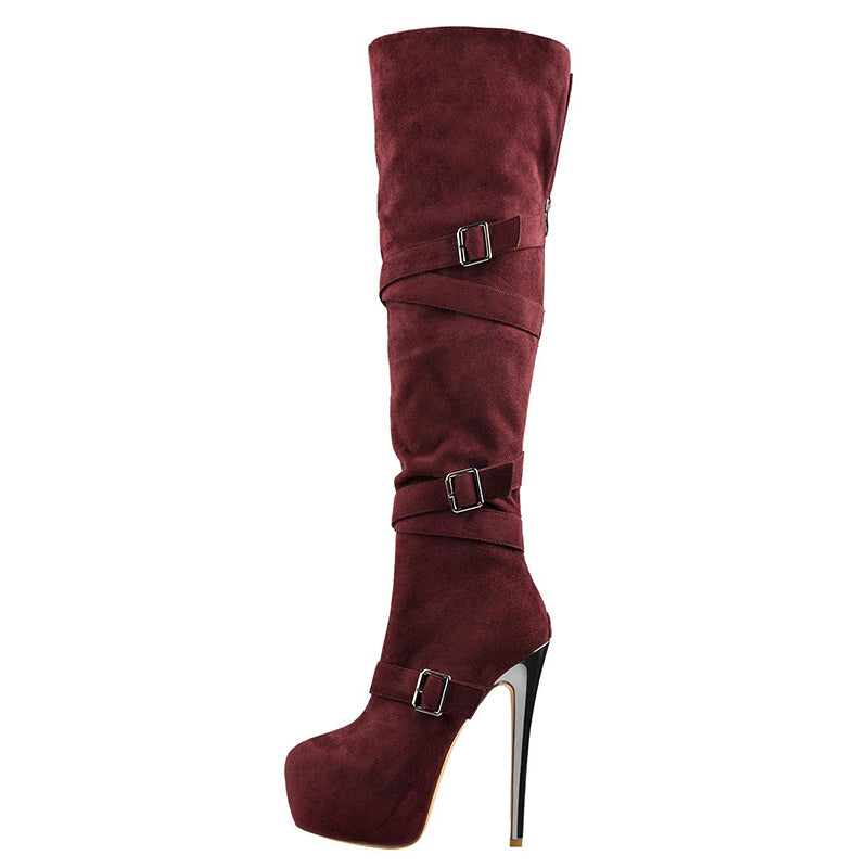 Suede Knee High Slouch Boots