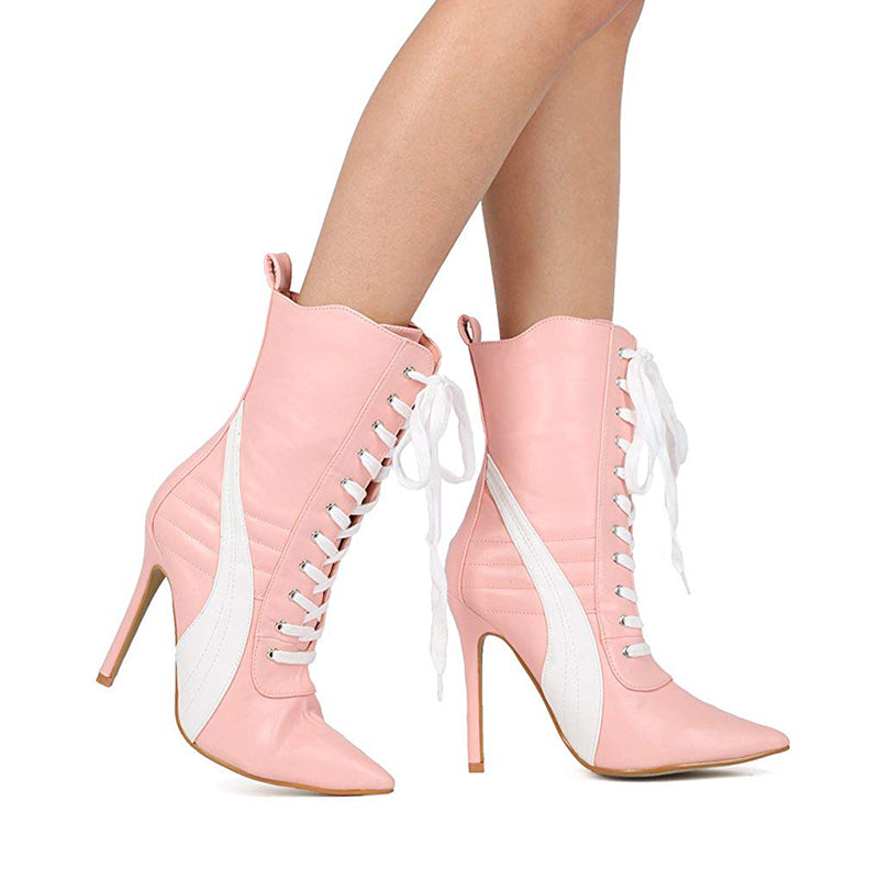 Lace Up Stiletto Heel Boots #3