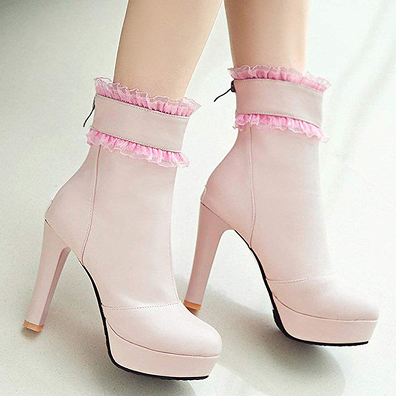 Blush Lace Platform Wedding Boots
