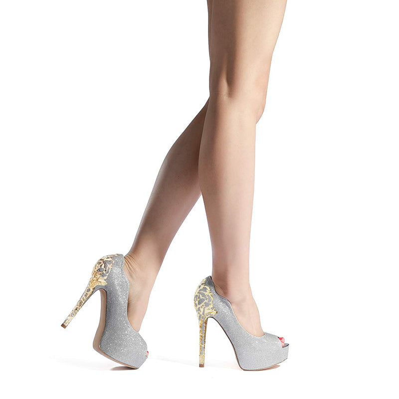 Silver Sculptural Heel Pumps #1