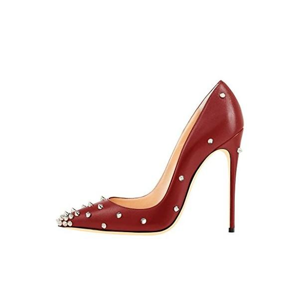 women-s-maroon-patent-leather-classy-rivets-stiletto-heels-shoes