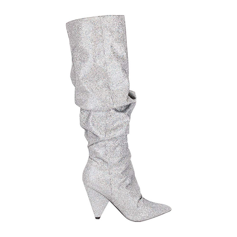 Rhinestone Knee High Boots