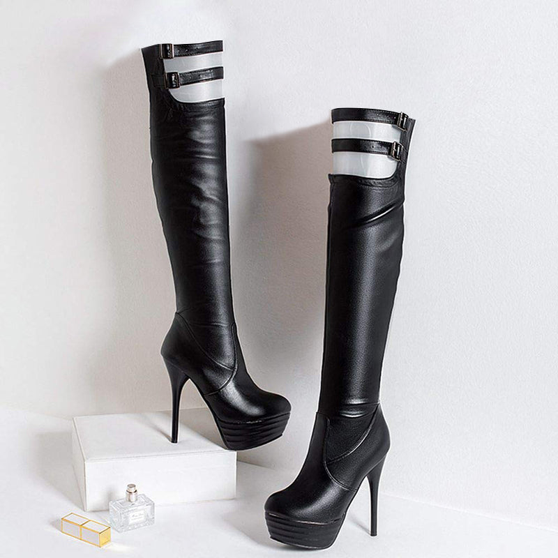 Strappy Patform Thigh High Boots