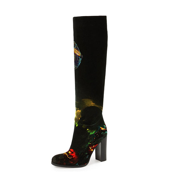 Halloween Print Knee High Boots