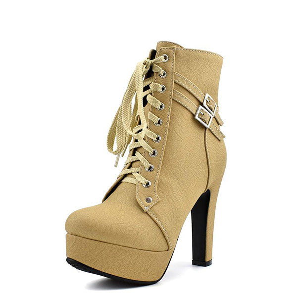 Lace Up Khaki Ankle Boots
