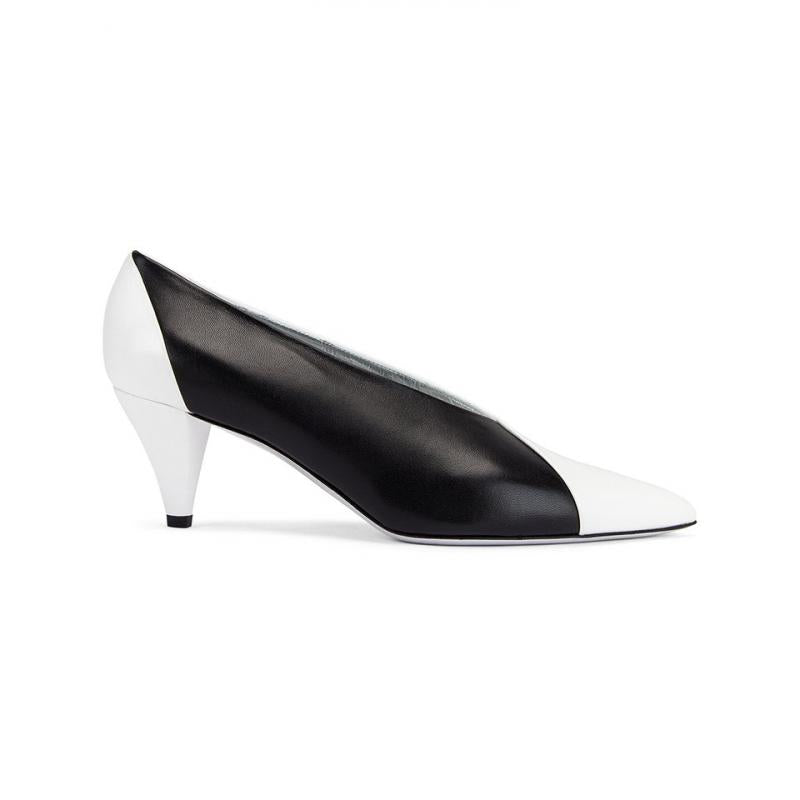 Matte Leather Kitten Heel Pumps