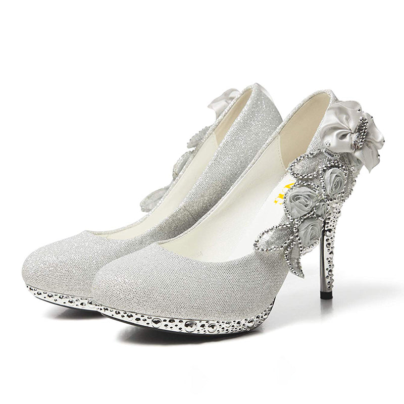 Silver Sculptural Heel Pumps #2