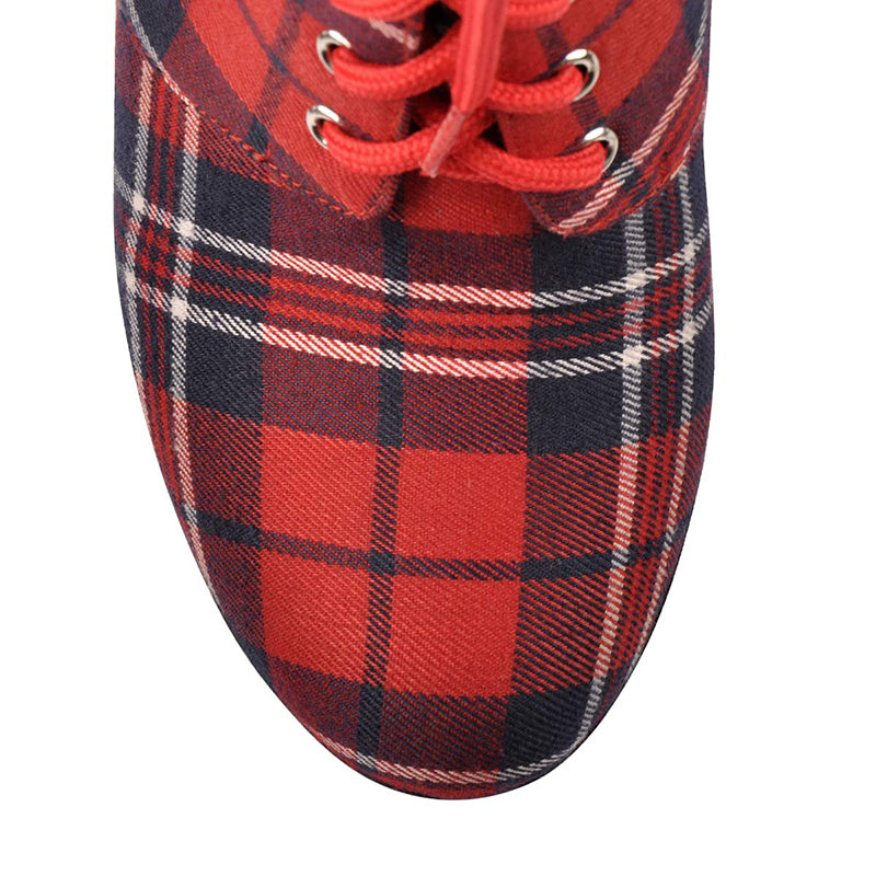 Plaid Lace Up Ankle Boots