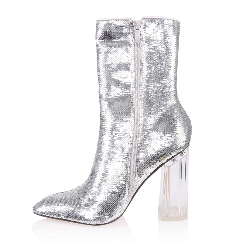 Sequins Chunky Heel Ankle Boots