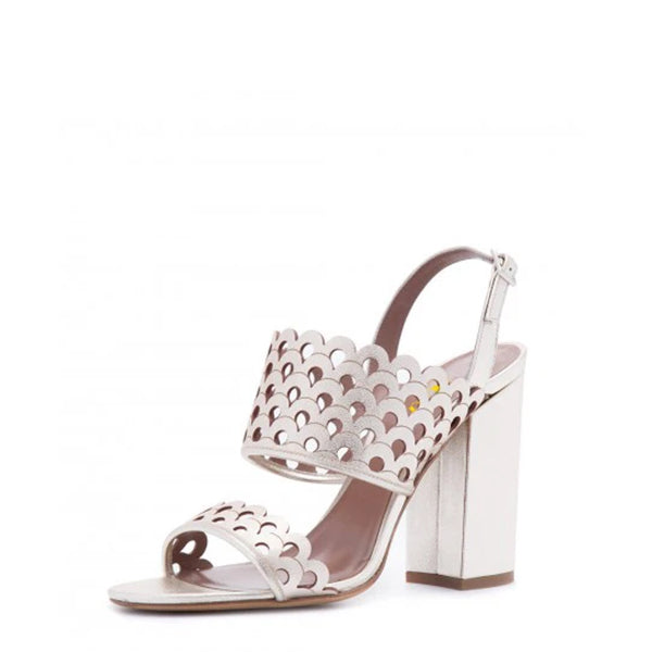 Silver Hollow Out Wedding Sandals