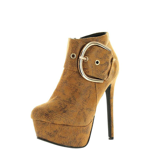 Buckle Stiletto Heel Boots-1
