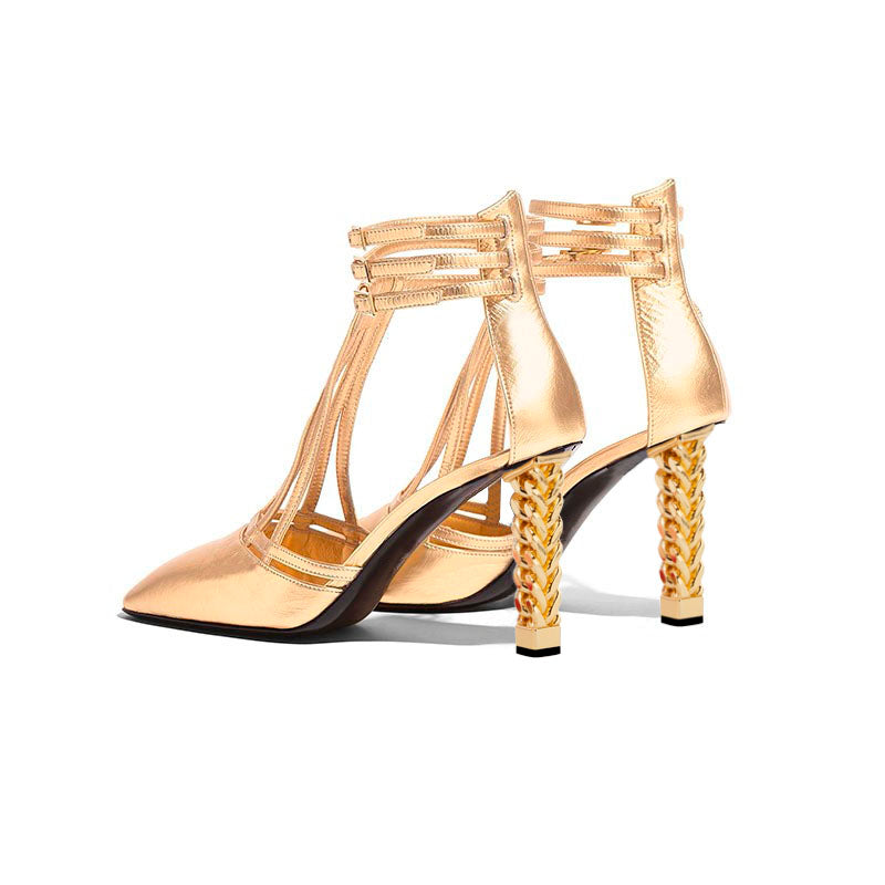 Golden Buckle Chunky Heel Sandals
