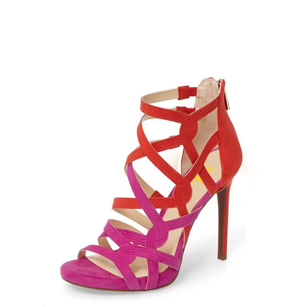 Red and Hot Pink Hollow-out Knit Sandals