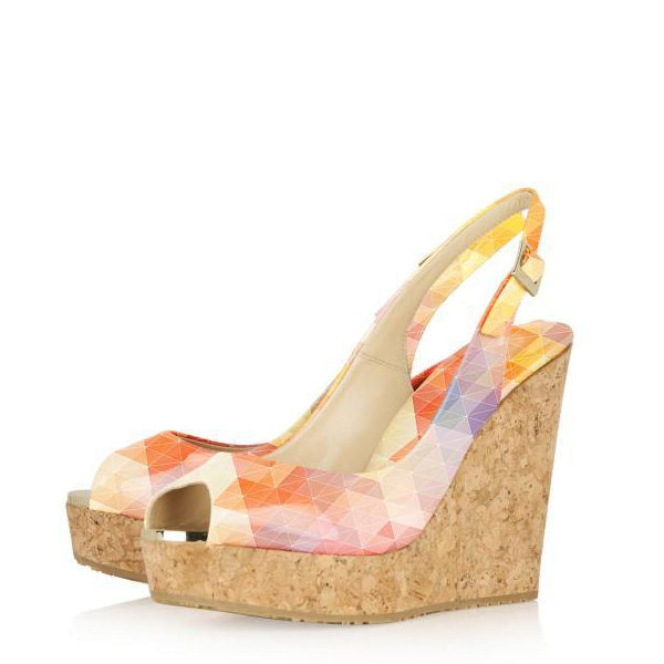 Cork Wedges Slingback Pumps-1