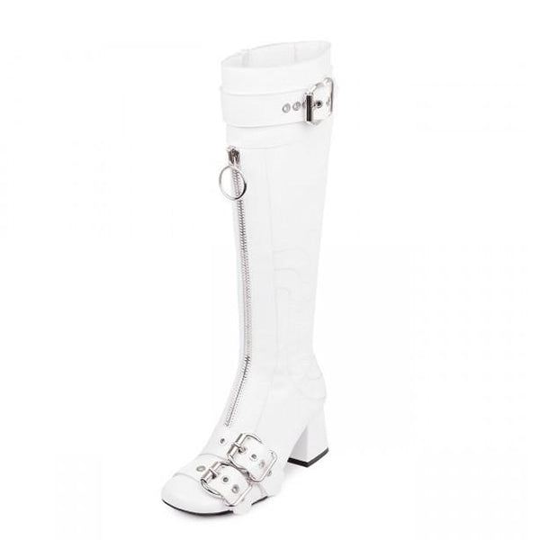 Buckles Zipper Knee-High Boots-1
