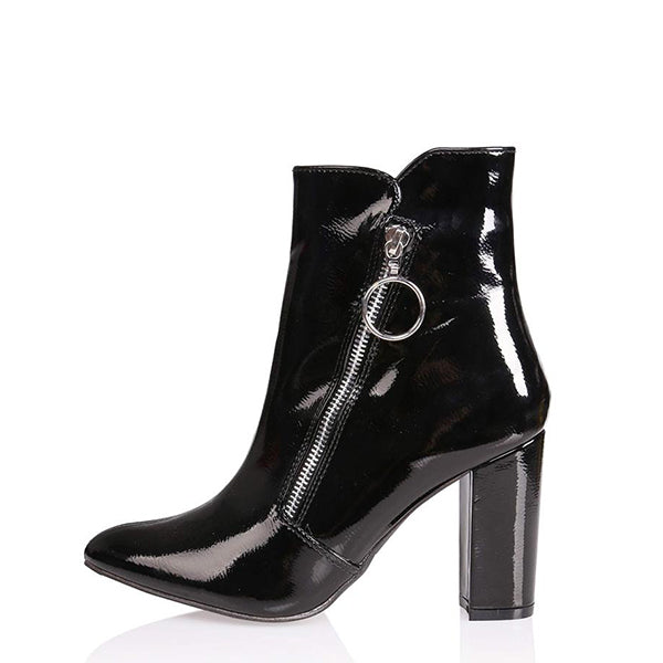 Patent Leather Zipper Ankle Boots