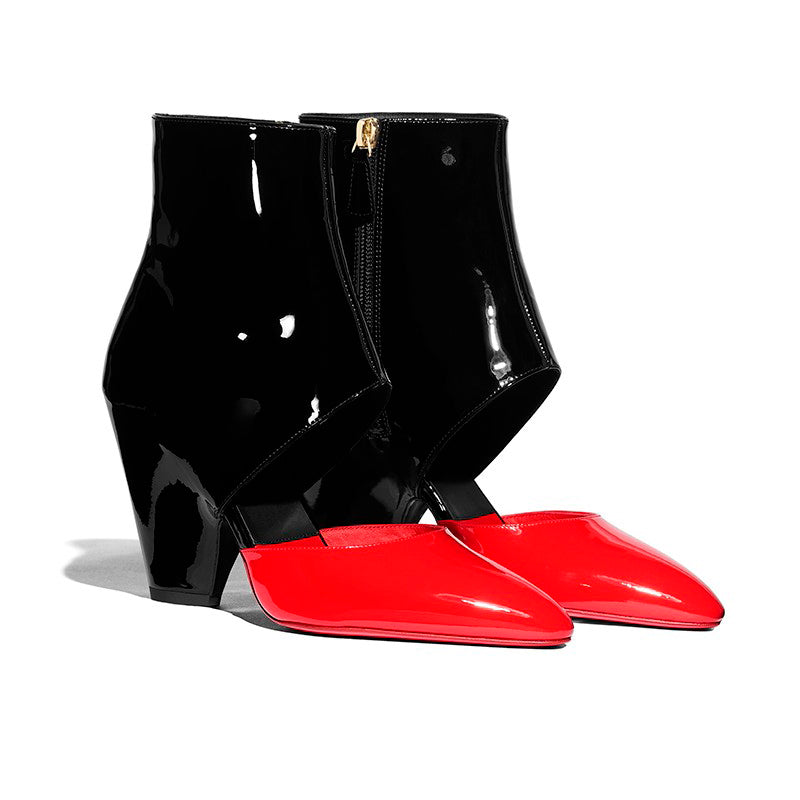 Colors-block Patent Leather Boots