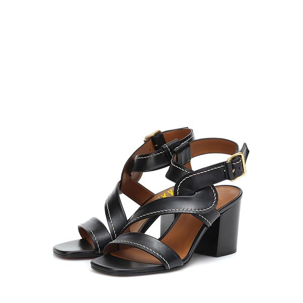 Black Ankle Strappy Buckle Chunky Heel Sandals