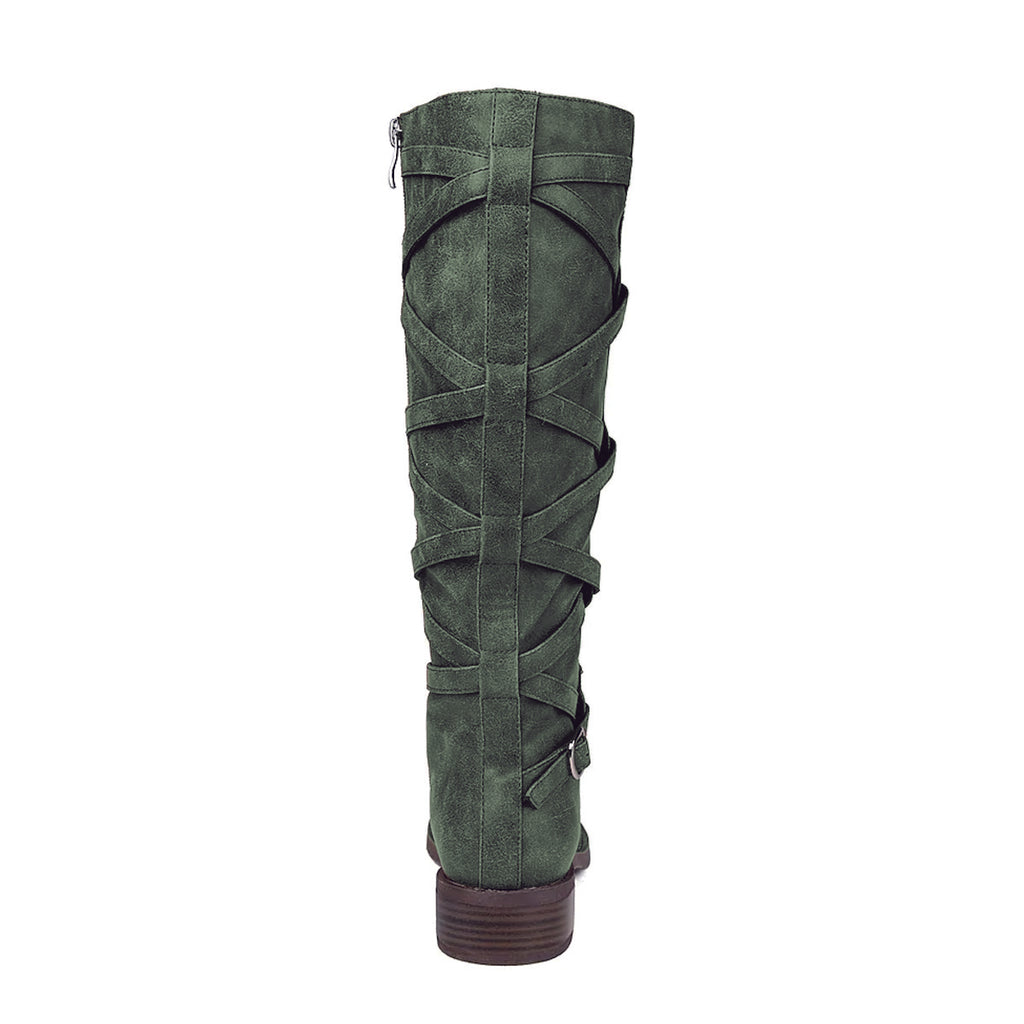 Army Green Comfortable Flat Knee High Boots
