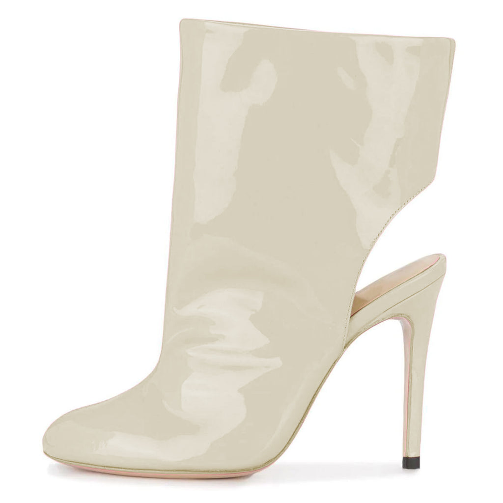 Beige Mirror Leather Stiletto Heel Boots