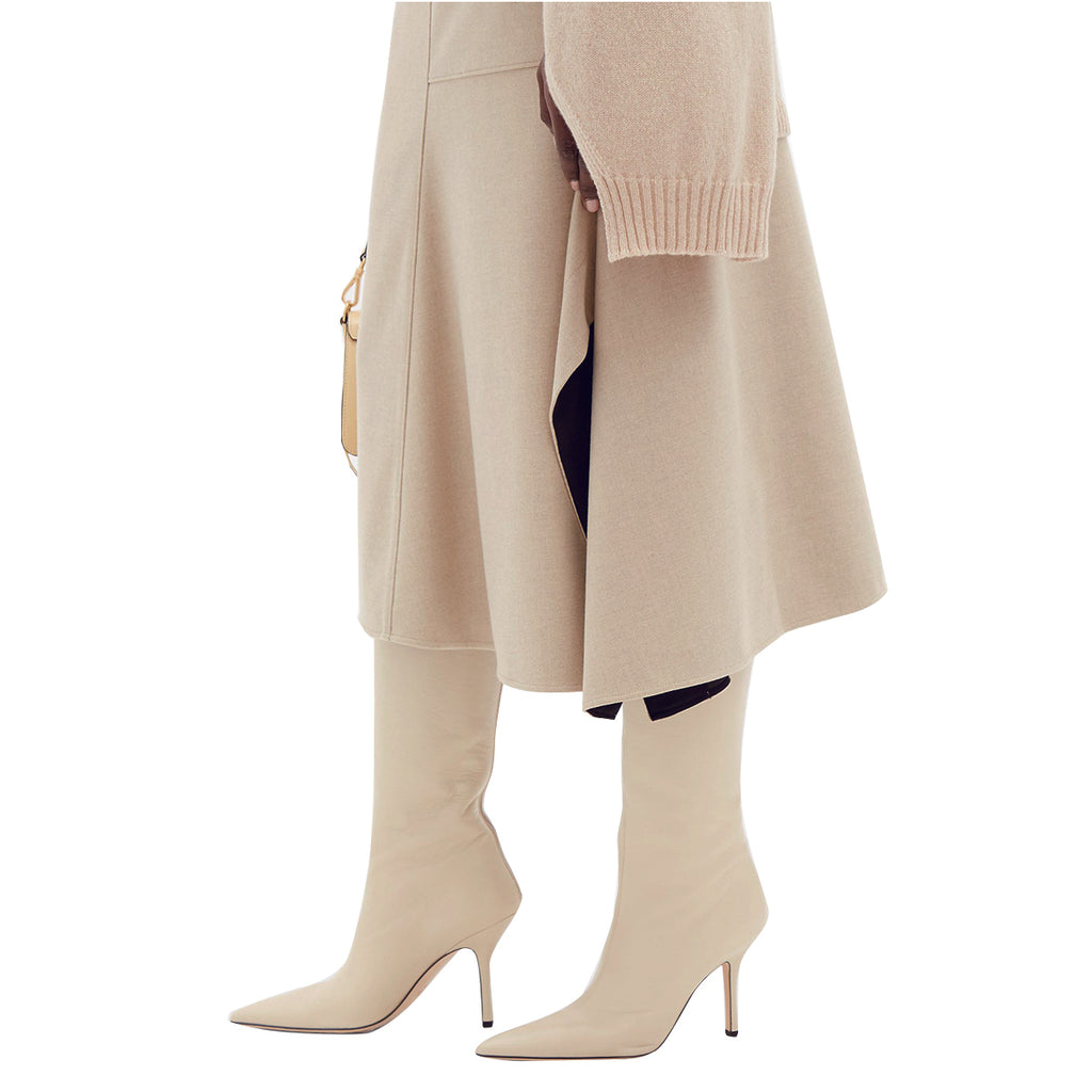 Beige Patent Leather Pointed Toe Stiletto Heel Boots