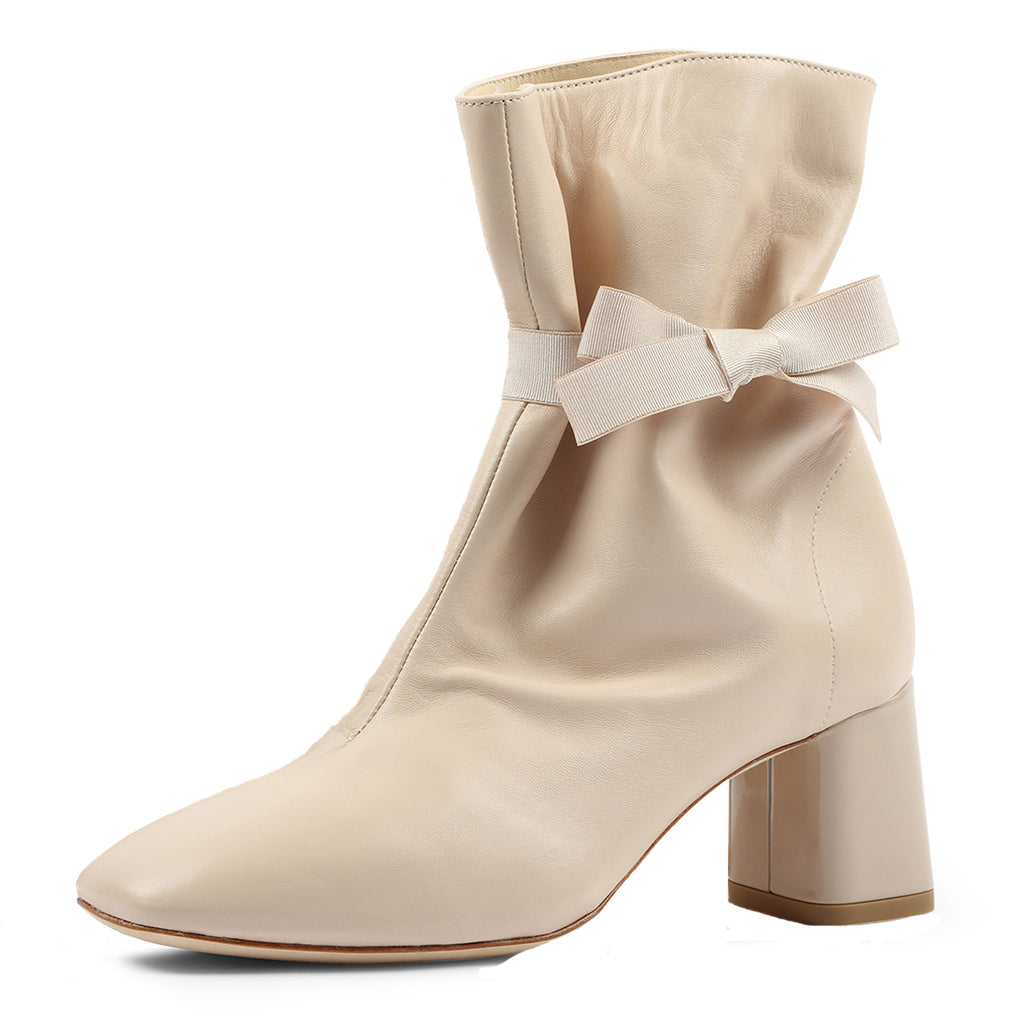 Beige Suede Bow Strappy Chunky Heel Ankle Boots