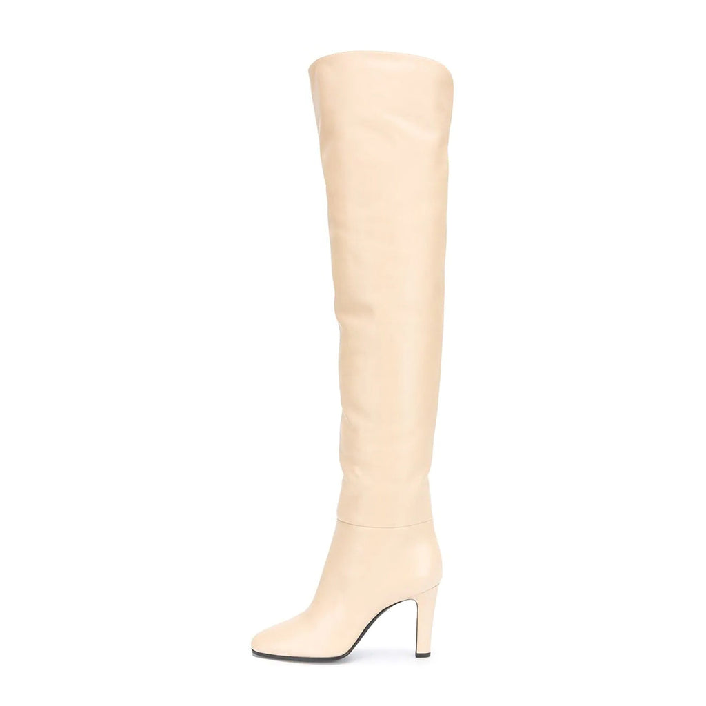 Beige Thigh High Heel Boots Chunky Heel Long Boots