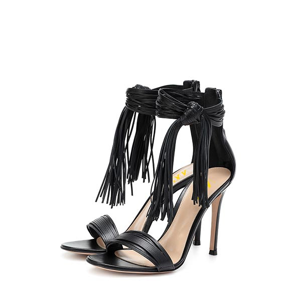 Black Ankle Strappy Tassels Stiletto Heel Sandals