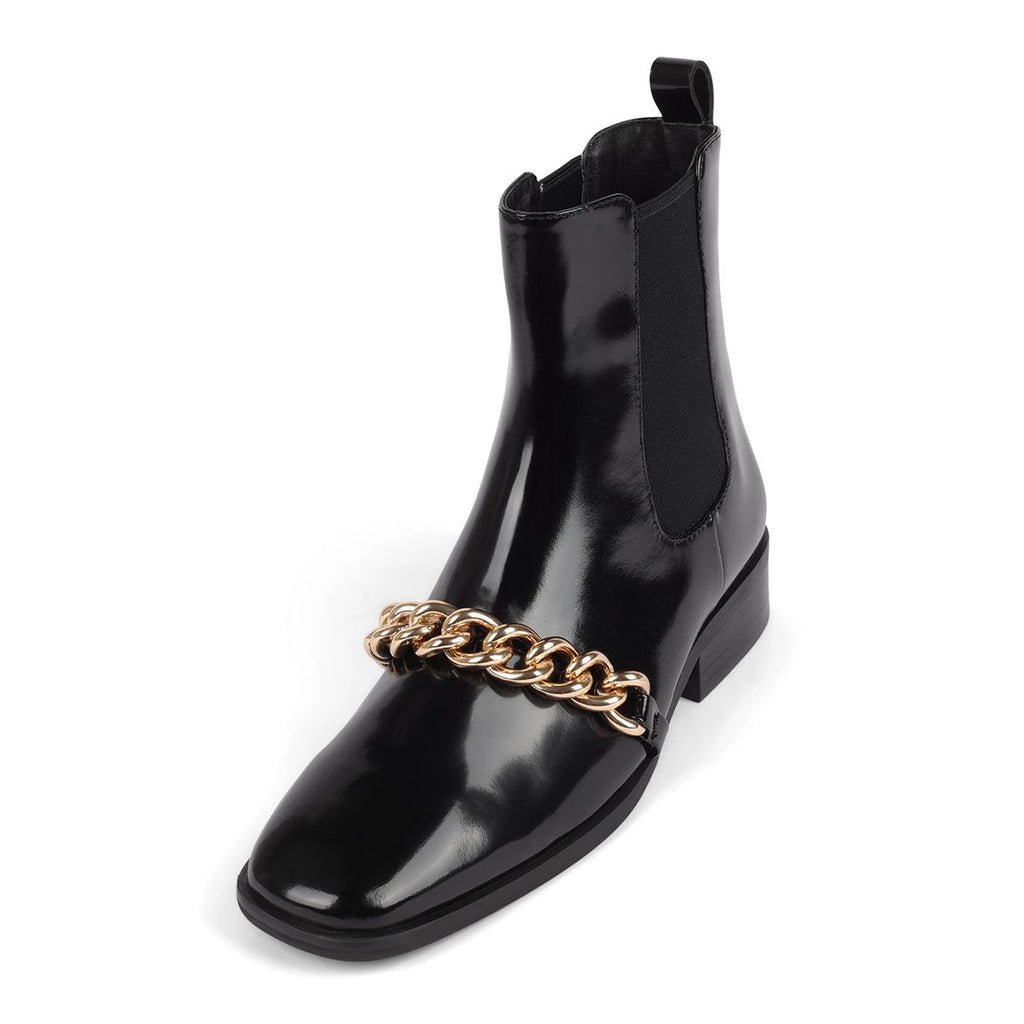 Black Chain Mirror Leather Low Heel Ankle Boots