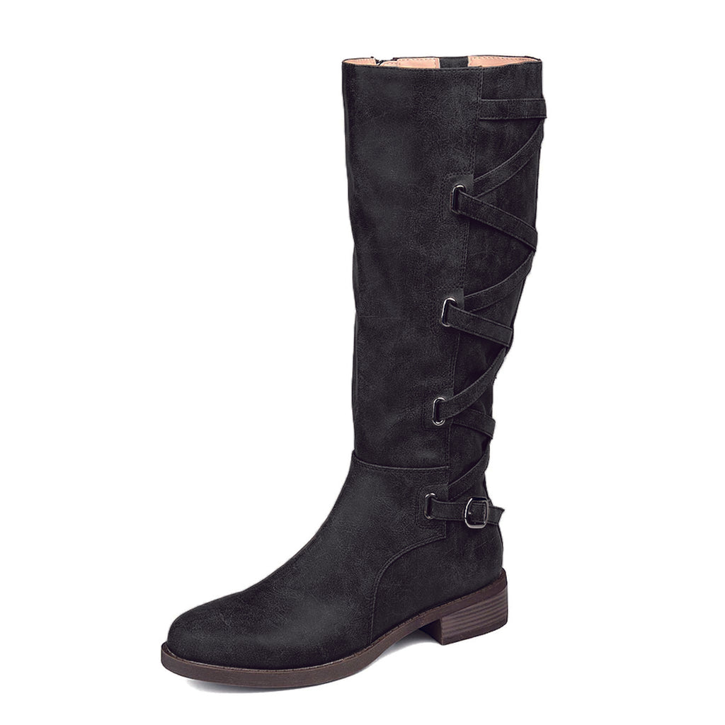 Black Comfortable Flat Knee High Boots