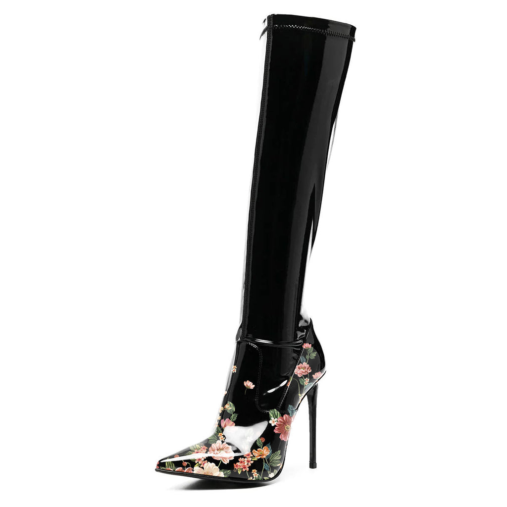 Black Floral Print Mirror Leather Stiletto Thigh High Boots