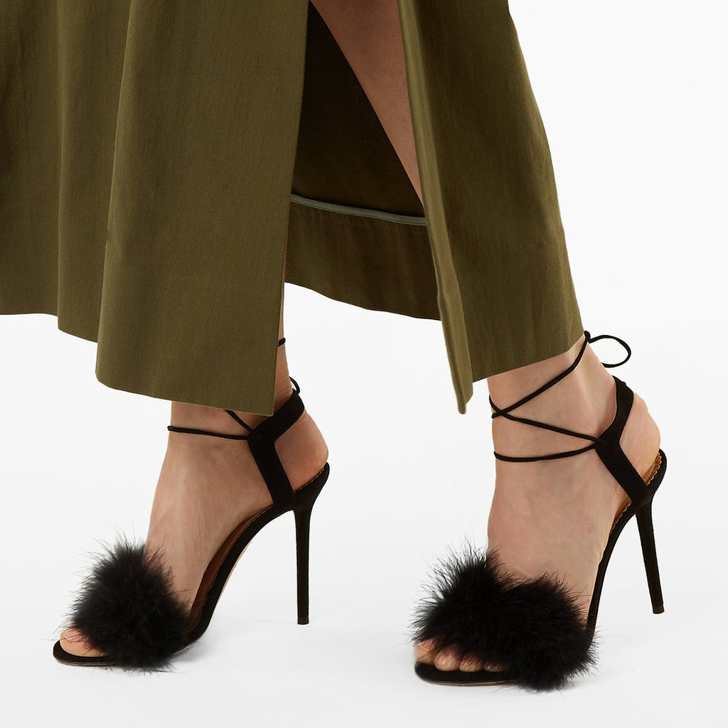 Black Fur Strappy Stiletto Heel Sandals
