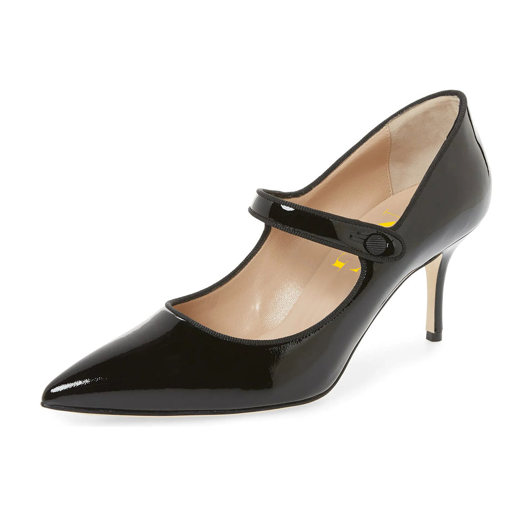 Black Mirror Pointed Toe Mary Jane Stiletto Heel Pumps