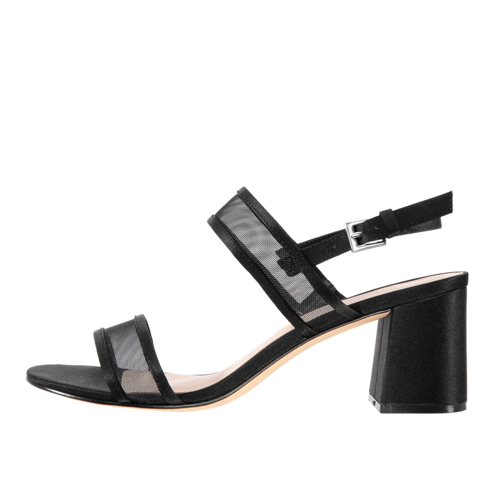 Black Net Ankle Strappy Buckle Block Heel Sandals