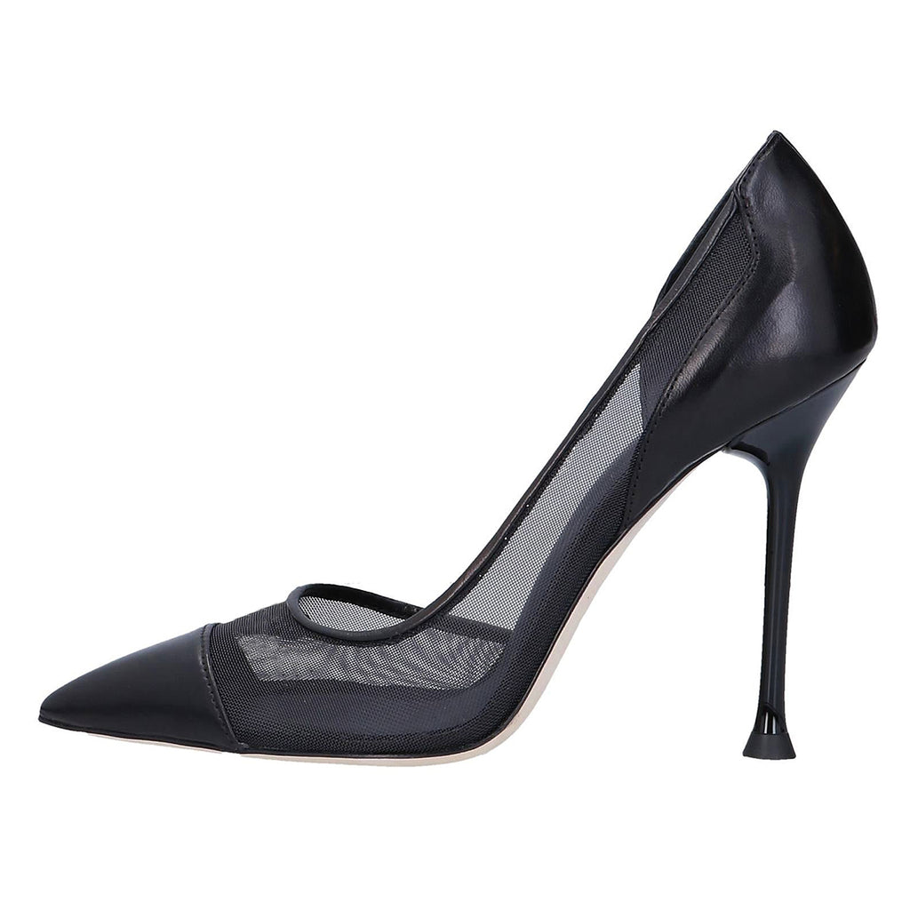 Black Net Pointy Toe Commuting Stiletto Heel Pumps