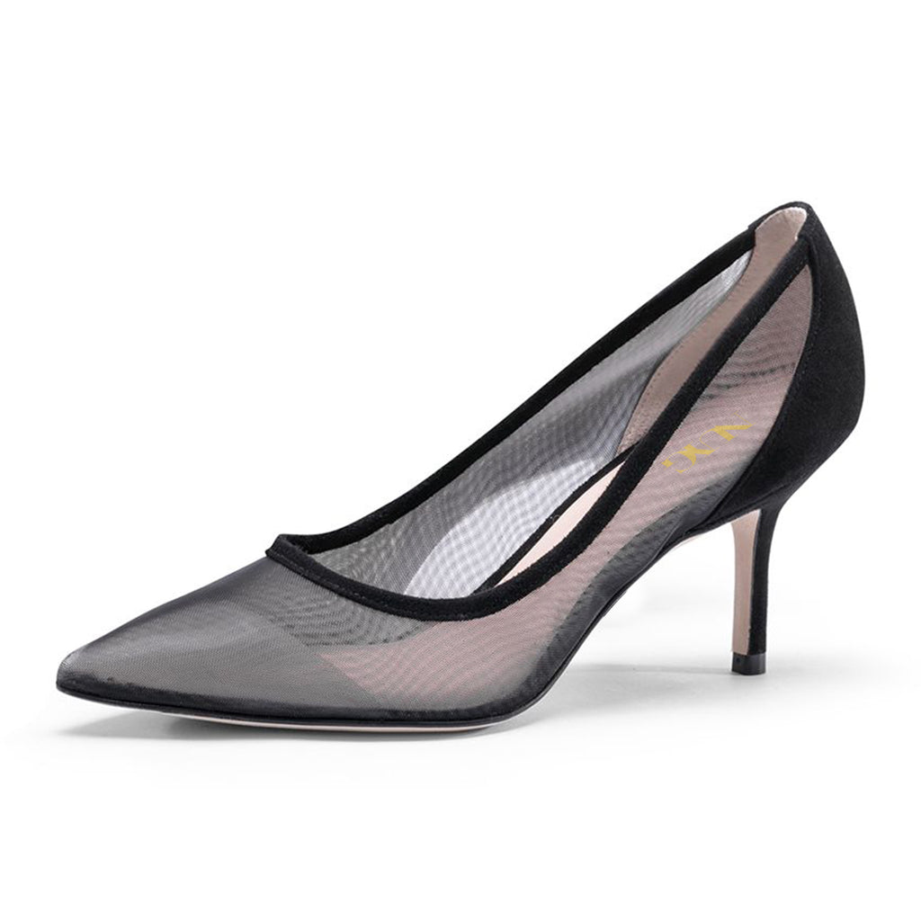 Black Nets Pointy Toe Stiletto Heel Pumps