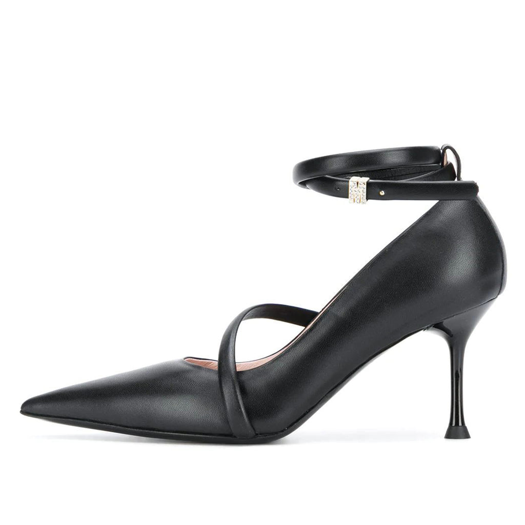 Black Office Pointed Toe Ankle Strap Stiletto Heel Pumps