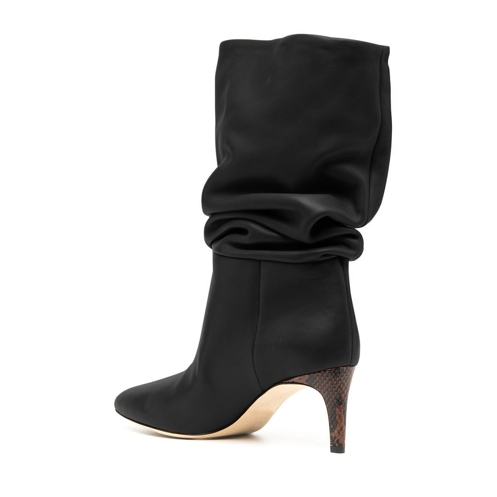 Black Pointed Toe Matte Leather Mid-carf Boots