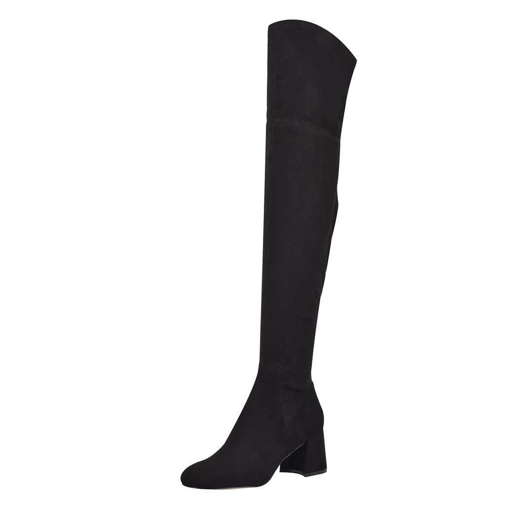Black Suede Block Heel Over-the-Knee High Boots