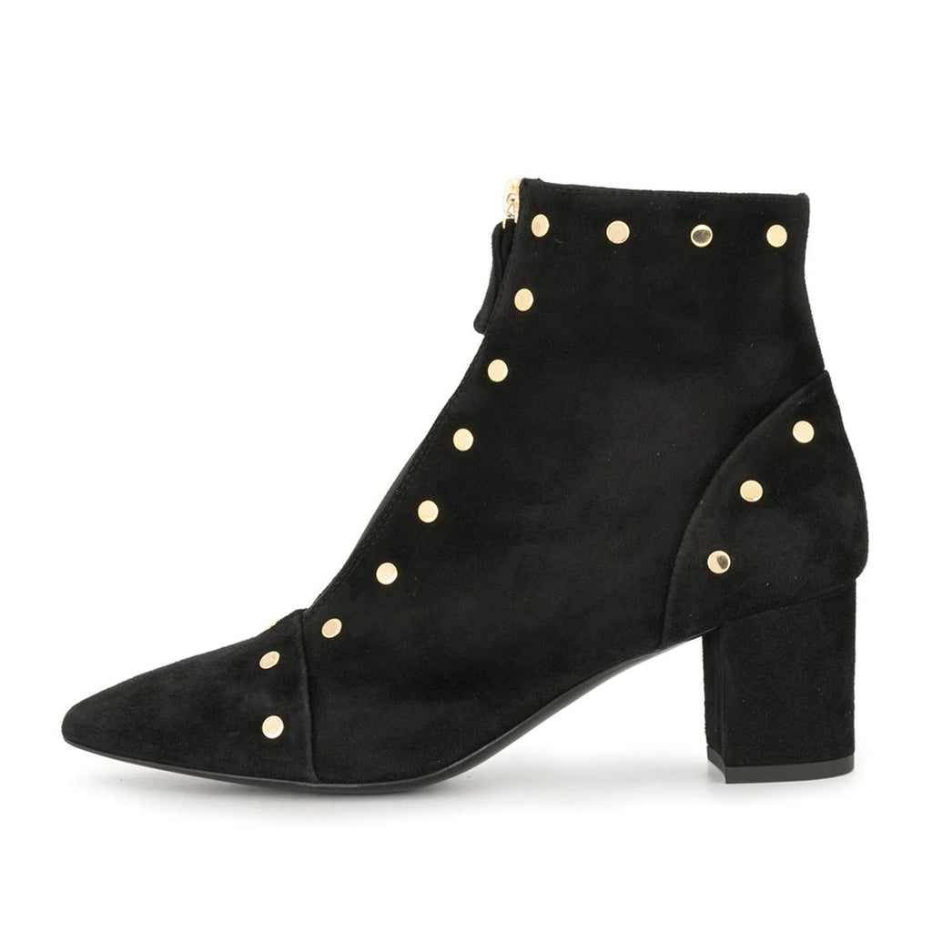 Black Suede Metal Zipper Block Heel Ankle Boots