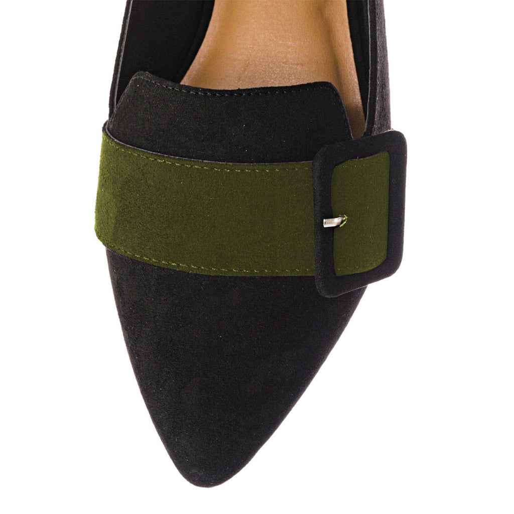 Black and Green Suede Pointed Toe Flats Commuting Mule Shoes
