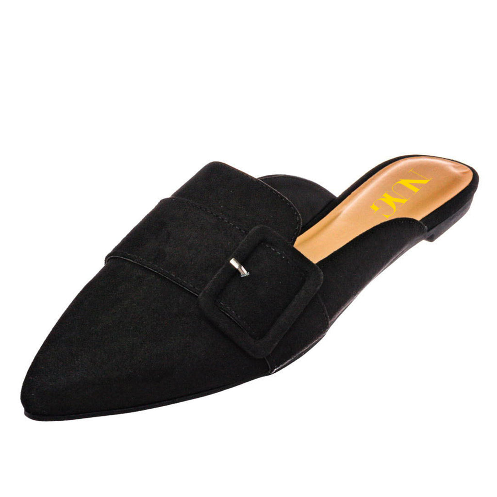 Black Suede Pointed Toe Flats Commuting Mule Shoes