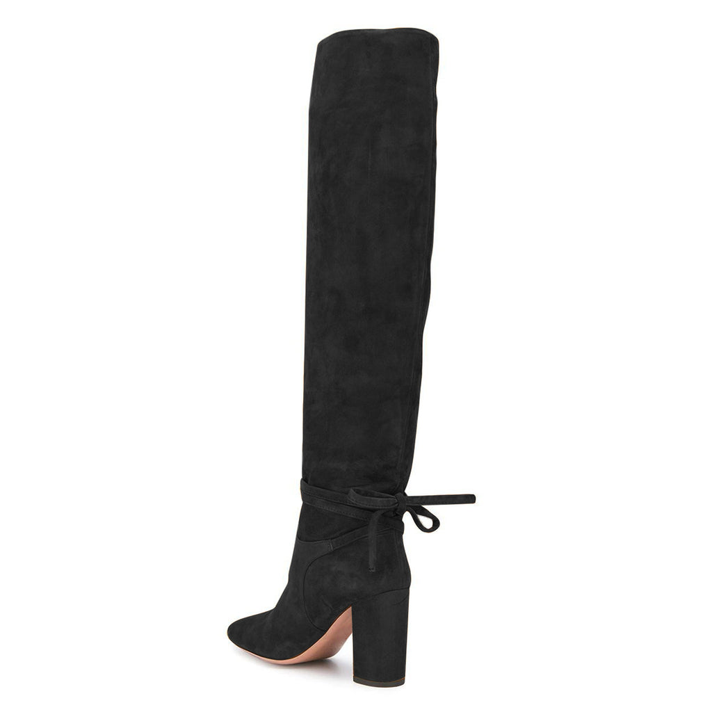 Black Suede Strappy Chunky Heel Knee High Boots