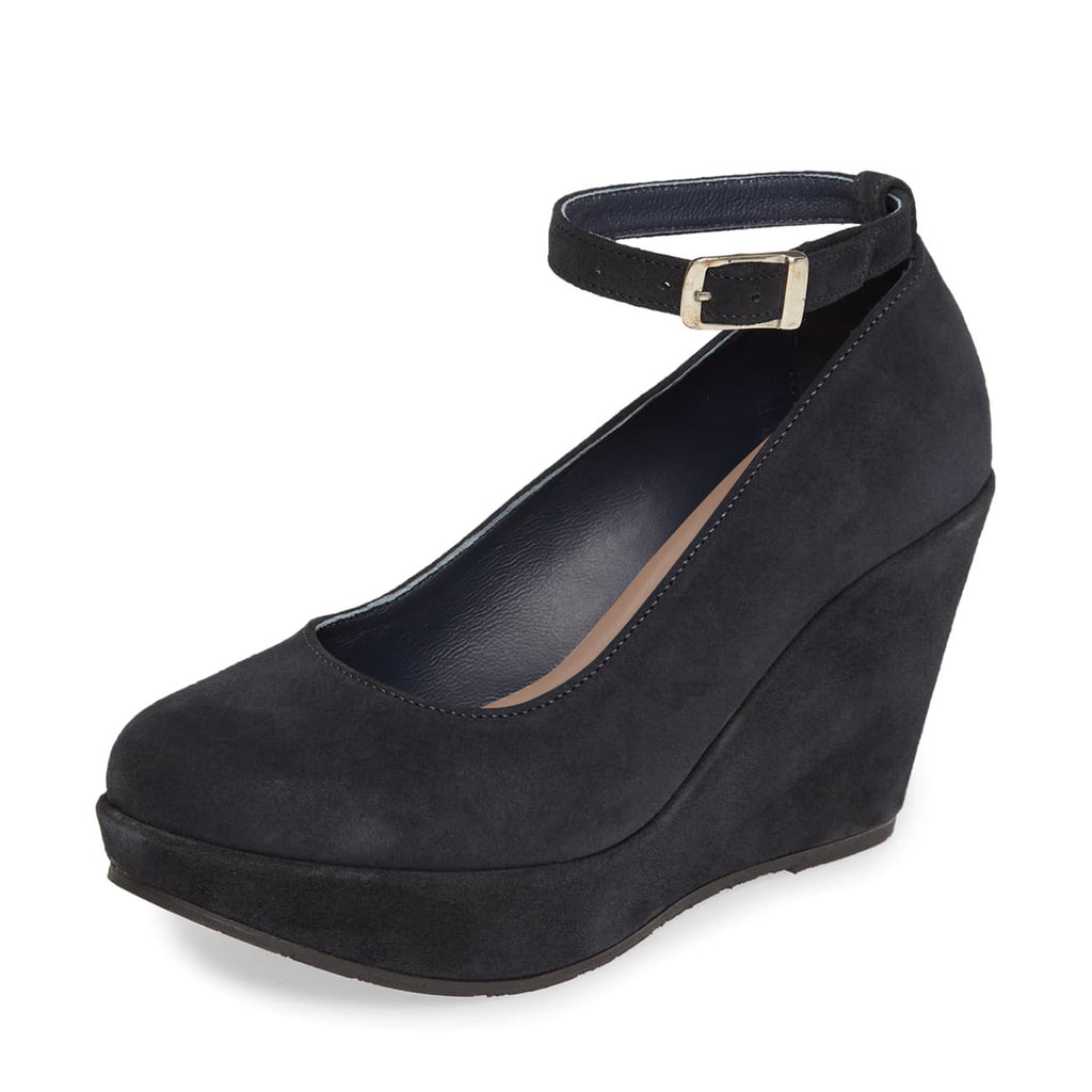 Black Suede Wedges Ankle Strap Pumps