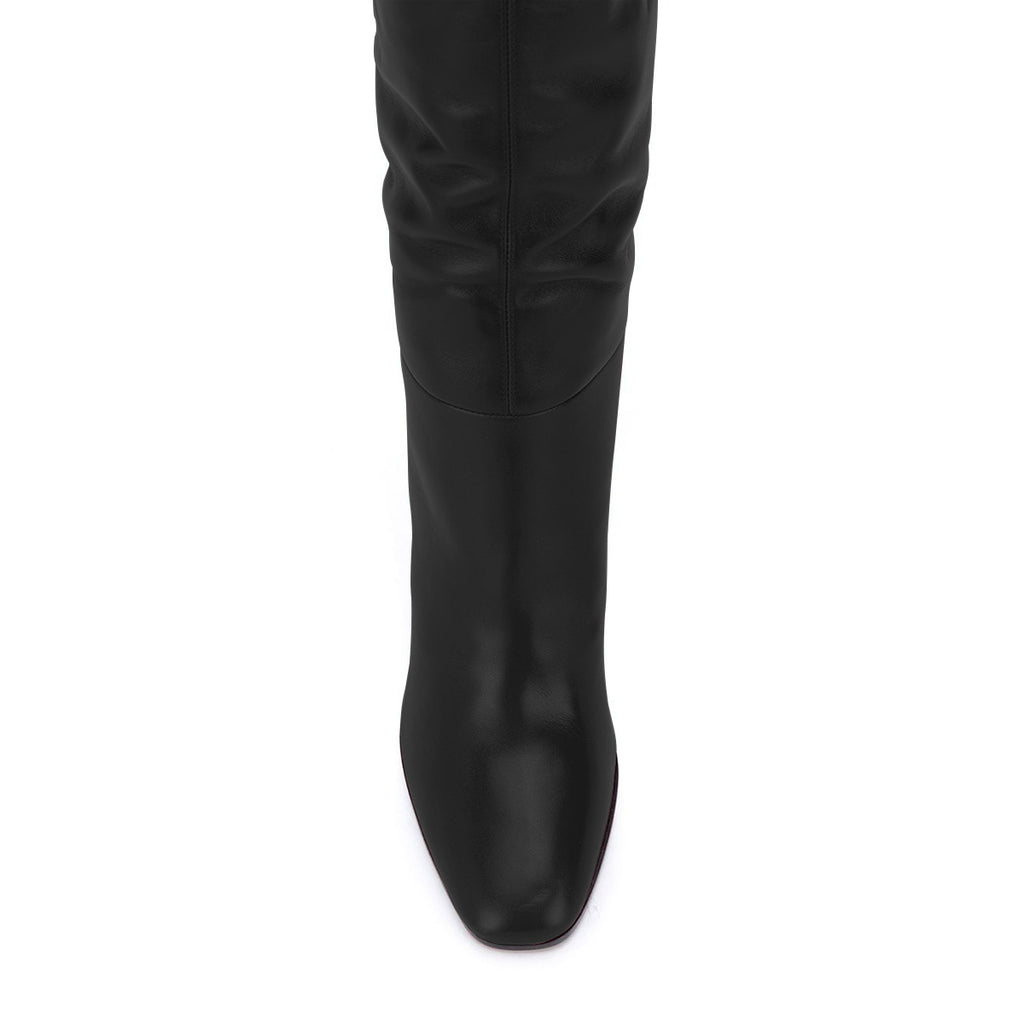Black Thigh High Heel Boots Chunky Heel Long Boots