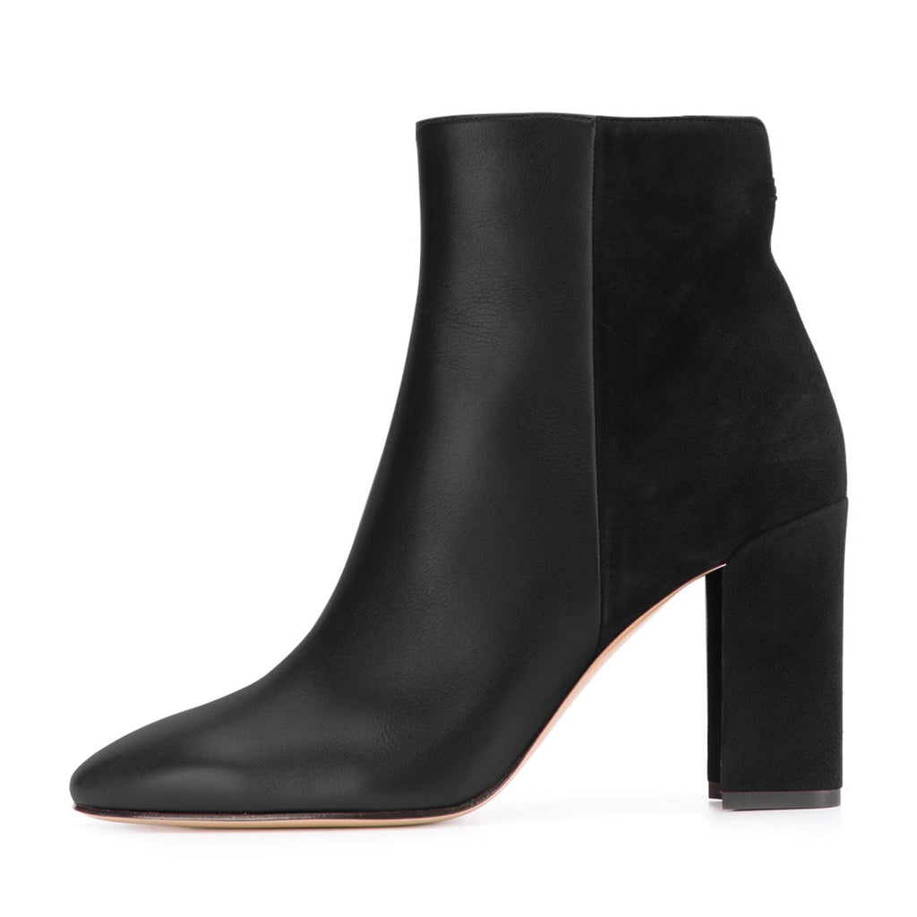Black Vegan Leather and Suede Chunky Heel Ankle Boots