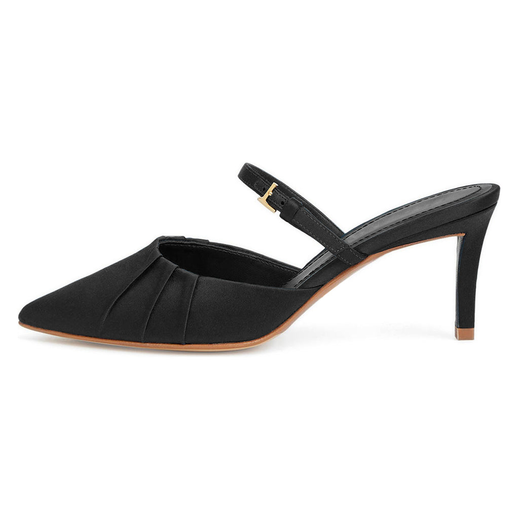 Black Velvet Stiletto Heel Mule Sandals