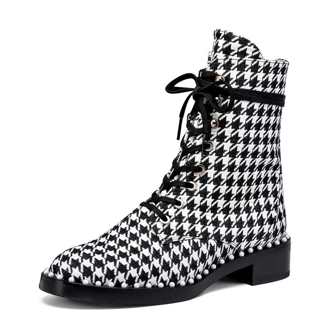 Black and White Houndstooth Suede Pearl Lace Up Short Boots