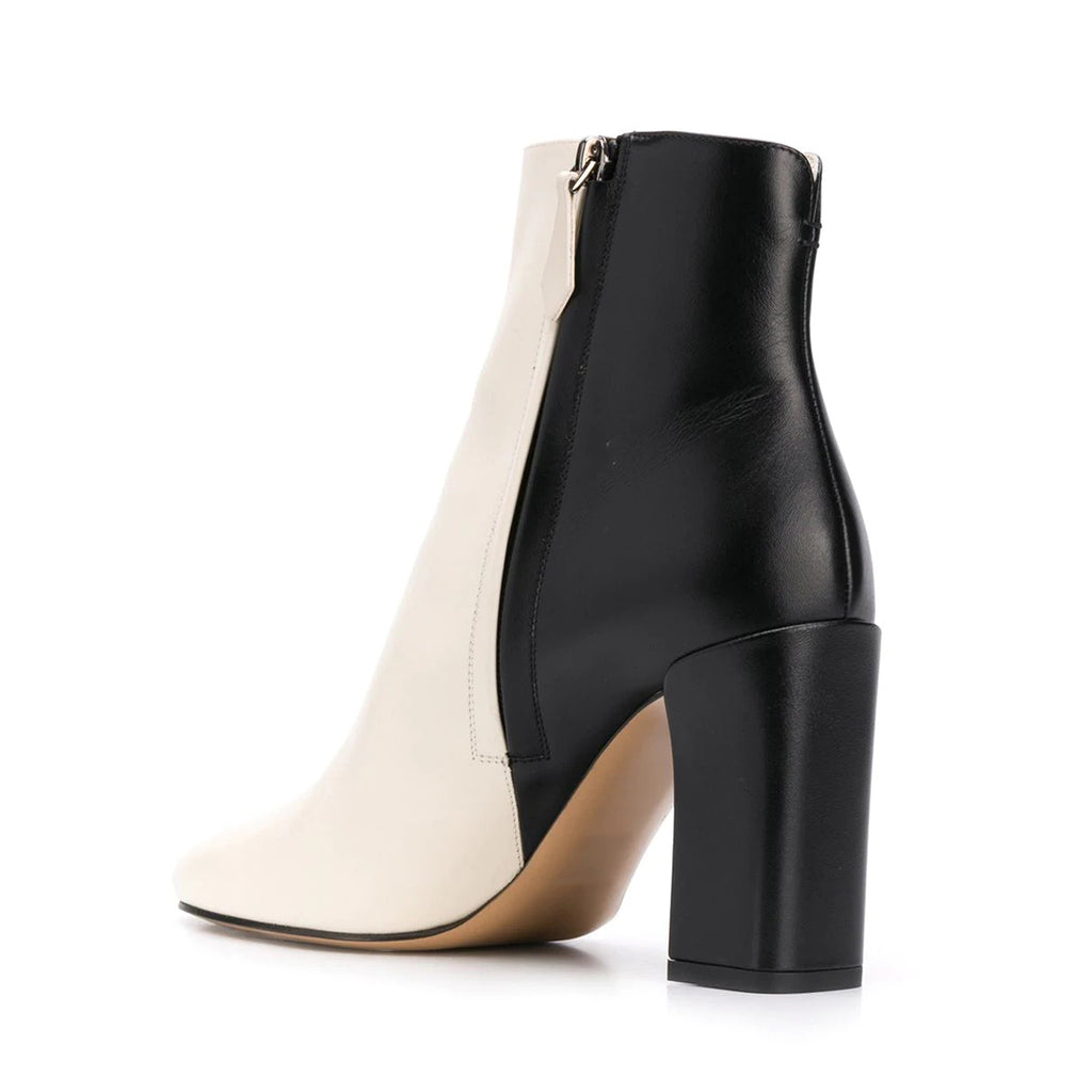 Black and White Vegan Leather Chunky Heel Ankle Boots