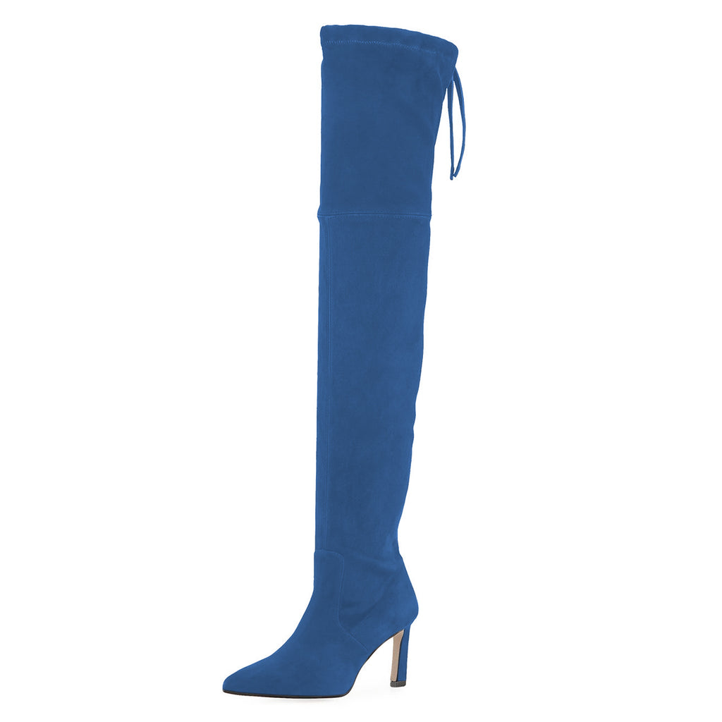 Blue Chunky Heel Over-the-Knee High Boots